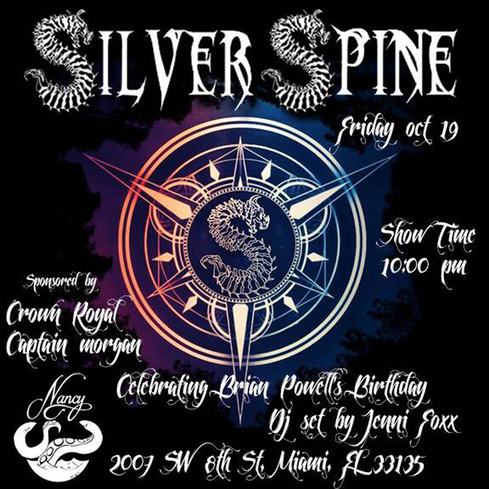 SILVER SPINE - CELEBRATING BRIAN POWELL's BIRTHDAY - FRIDAY OCT 19 - 10PM - DJ JENNI FOXX - SPONSORED BY CROWN ROYAL AND CAPTAIN MORGAN