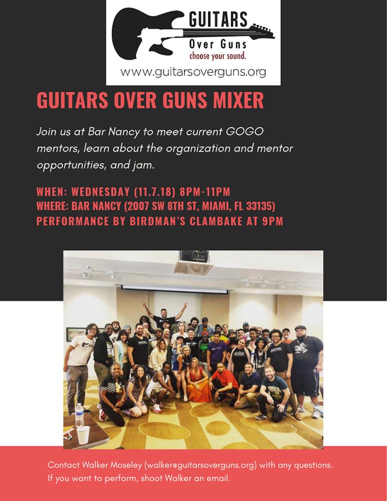 GUITARS OVER GUNS - WEDNESDAY NOV 7TH - 8PM - 11PM