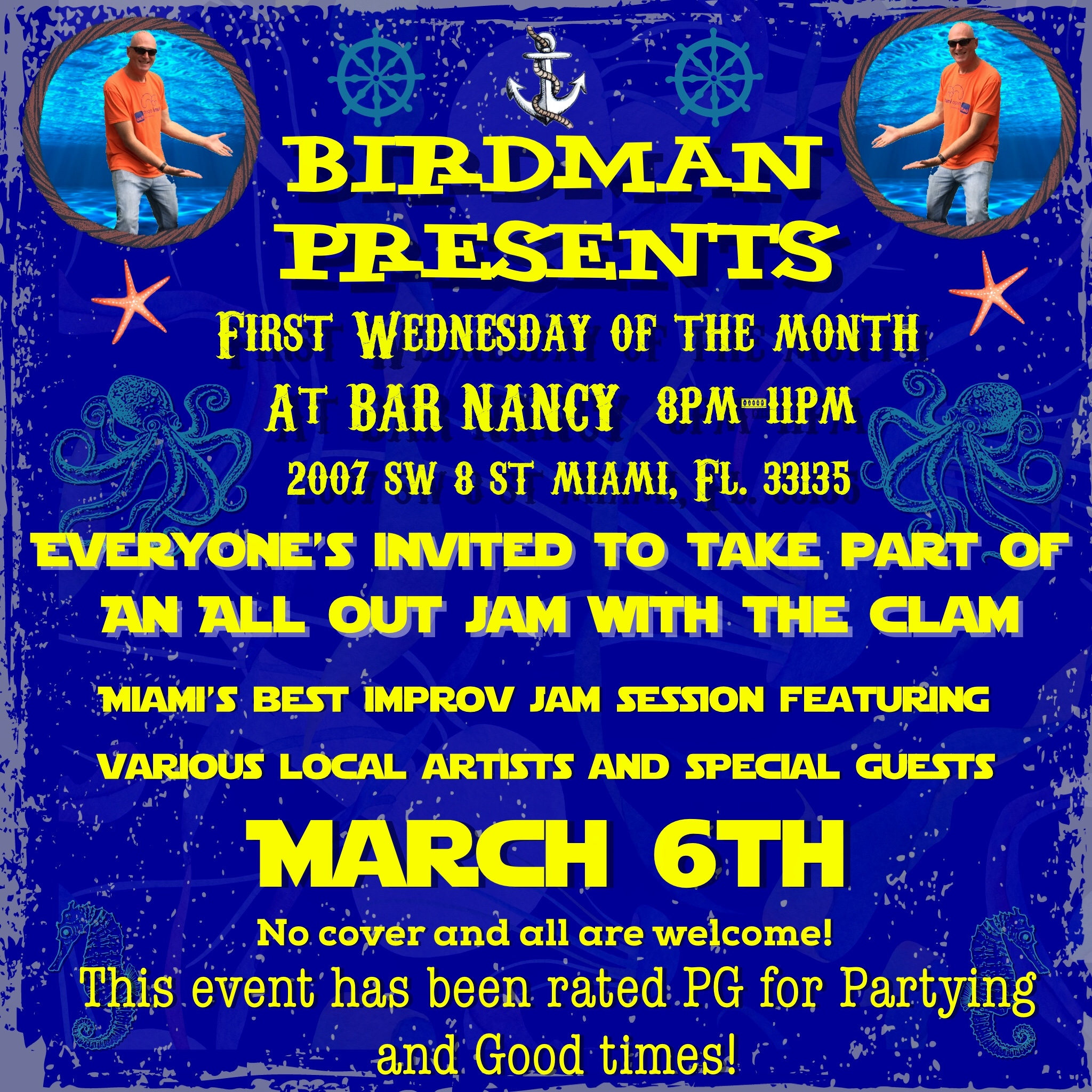 BIRDMAN presents - Every 1st Wednesday of the month - March 6th - No Cover - Various Local Improv. 8PM - 11PM @ Bar Nancy