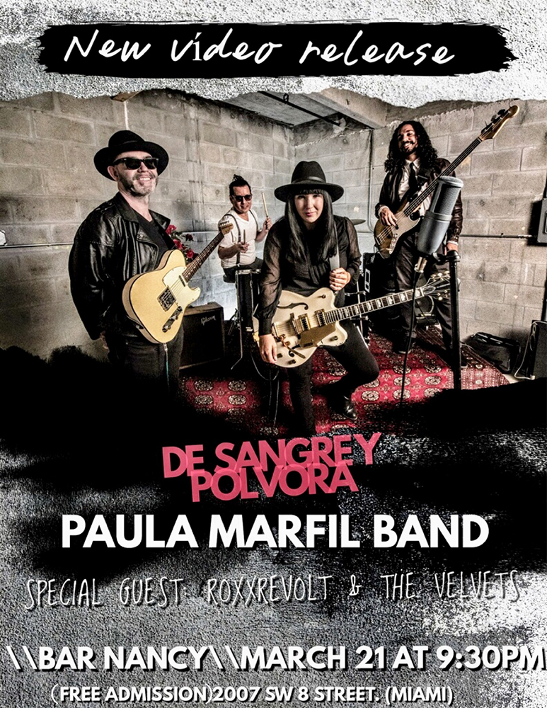 Paula Marfil Band! Video Release! W/ RoxxRevolt & The Velvets! @ Bar Nancy - March 21 at 9:30 PM