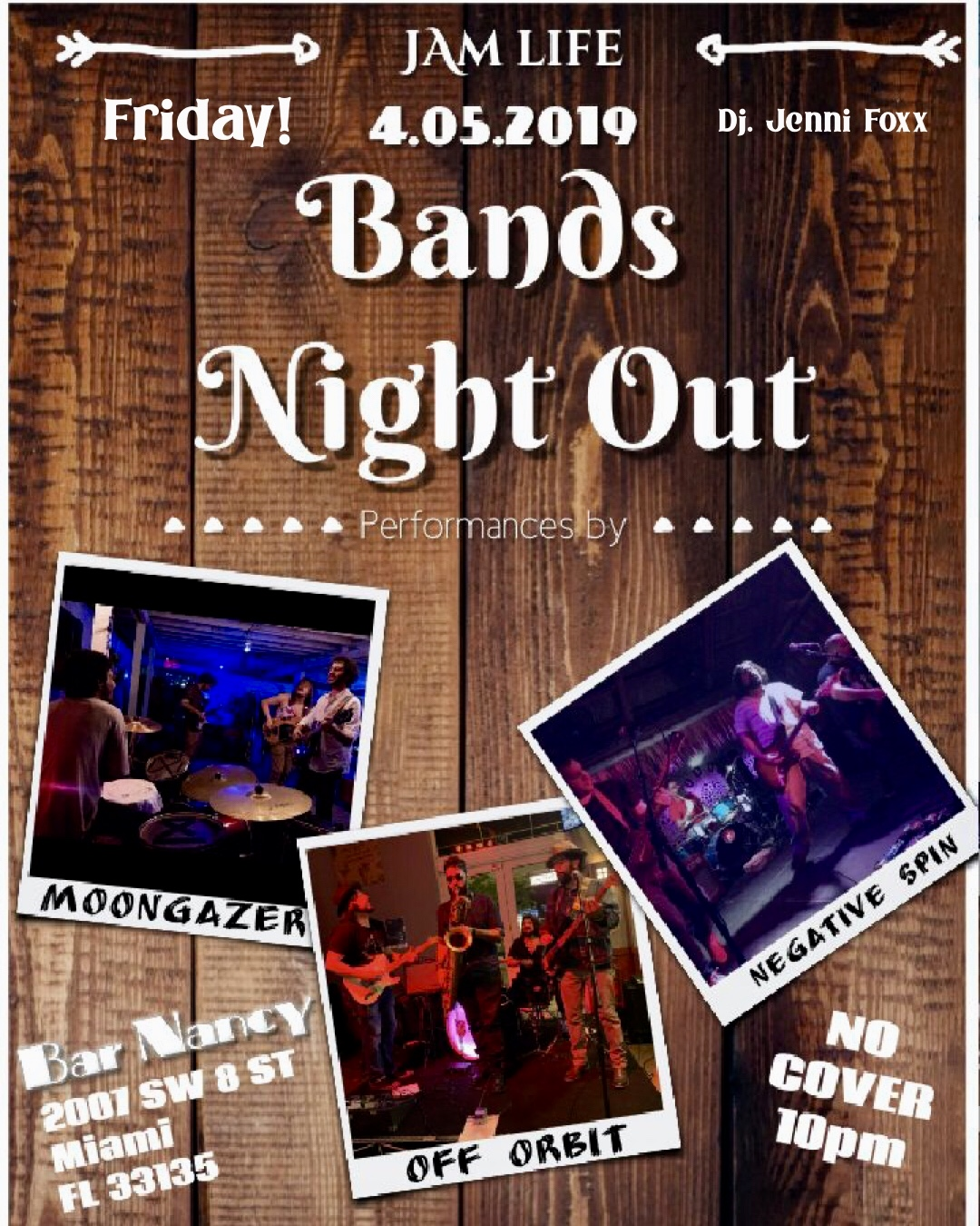 Bands Night Out! Featuring Off Orbit. Moongazer & Negative Spin! @ Bar Nancy - Friday, April 5, at 10 PM
