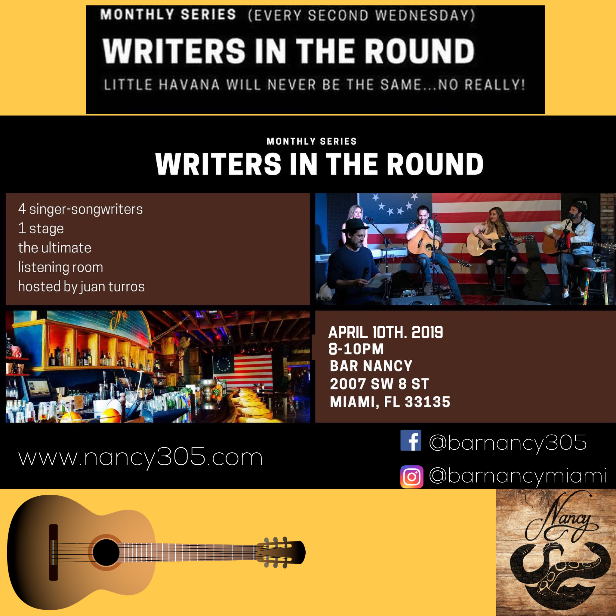 Writers in the Round! Hosted by Juan Turros! @ Bar Nancy - Wednesday, April 10, at 8 PM