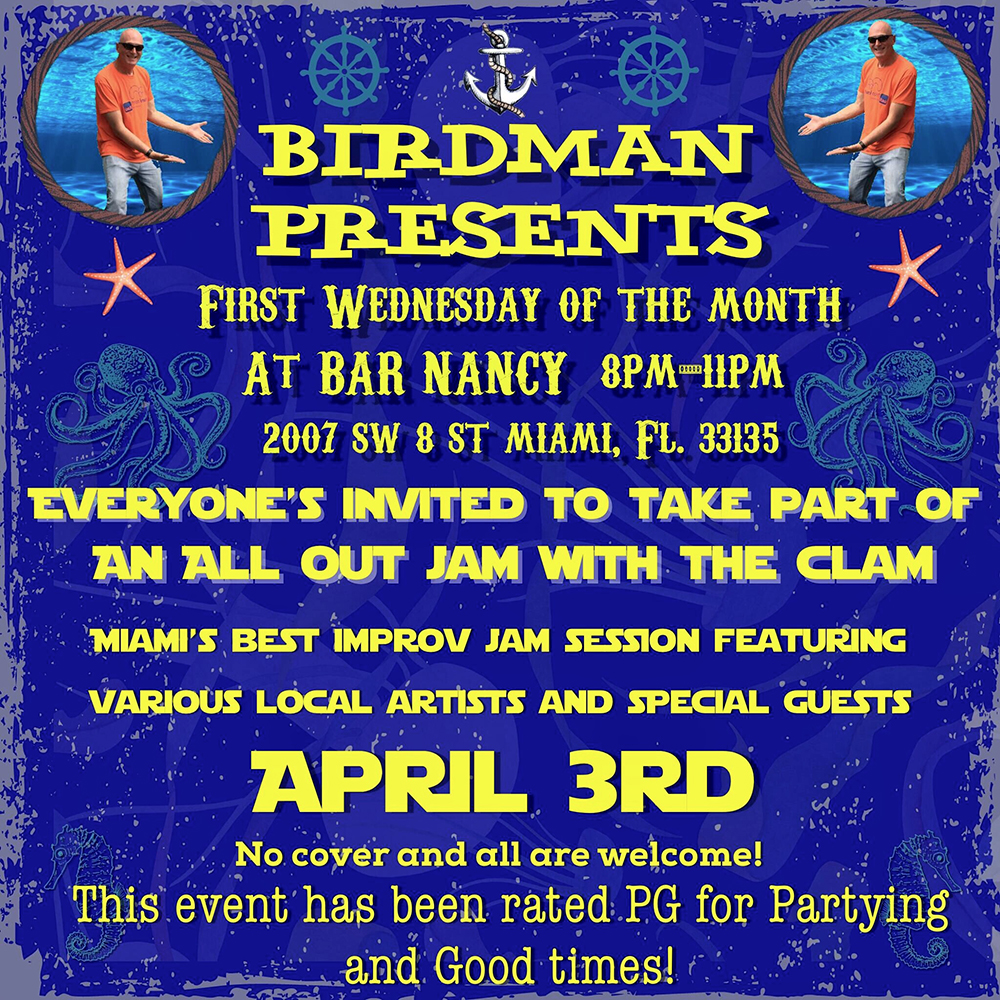 Birdman Presents 1st Wednesdays! A Very Unique Jam Session! @ Bar Nancy - Wednesday, April 3,at 8 PM