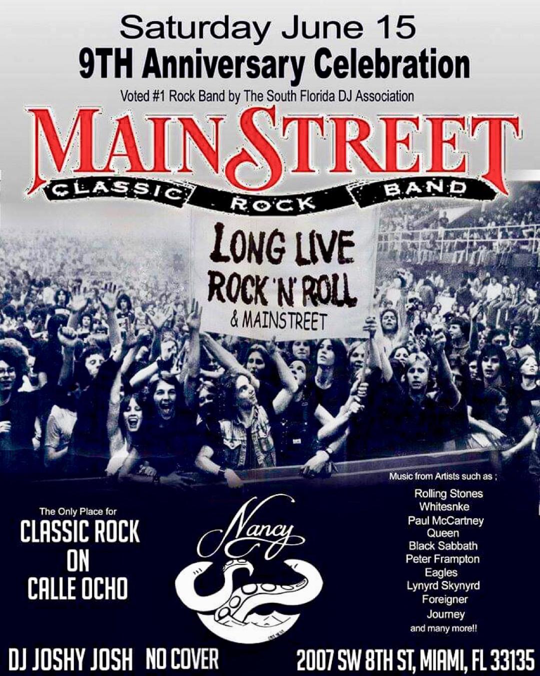 MainStreet! 9th Anniversary Celebration! at Bar Nancy - Saturday, June 15 - No Cover - 10 PM