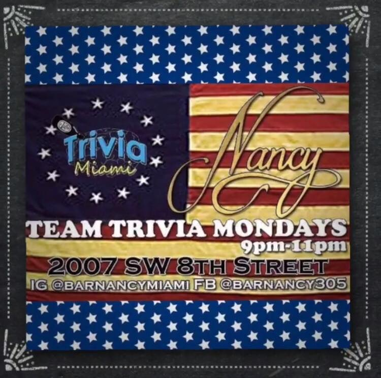Monday Night Games and Trivia at Bar Nancy!