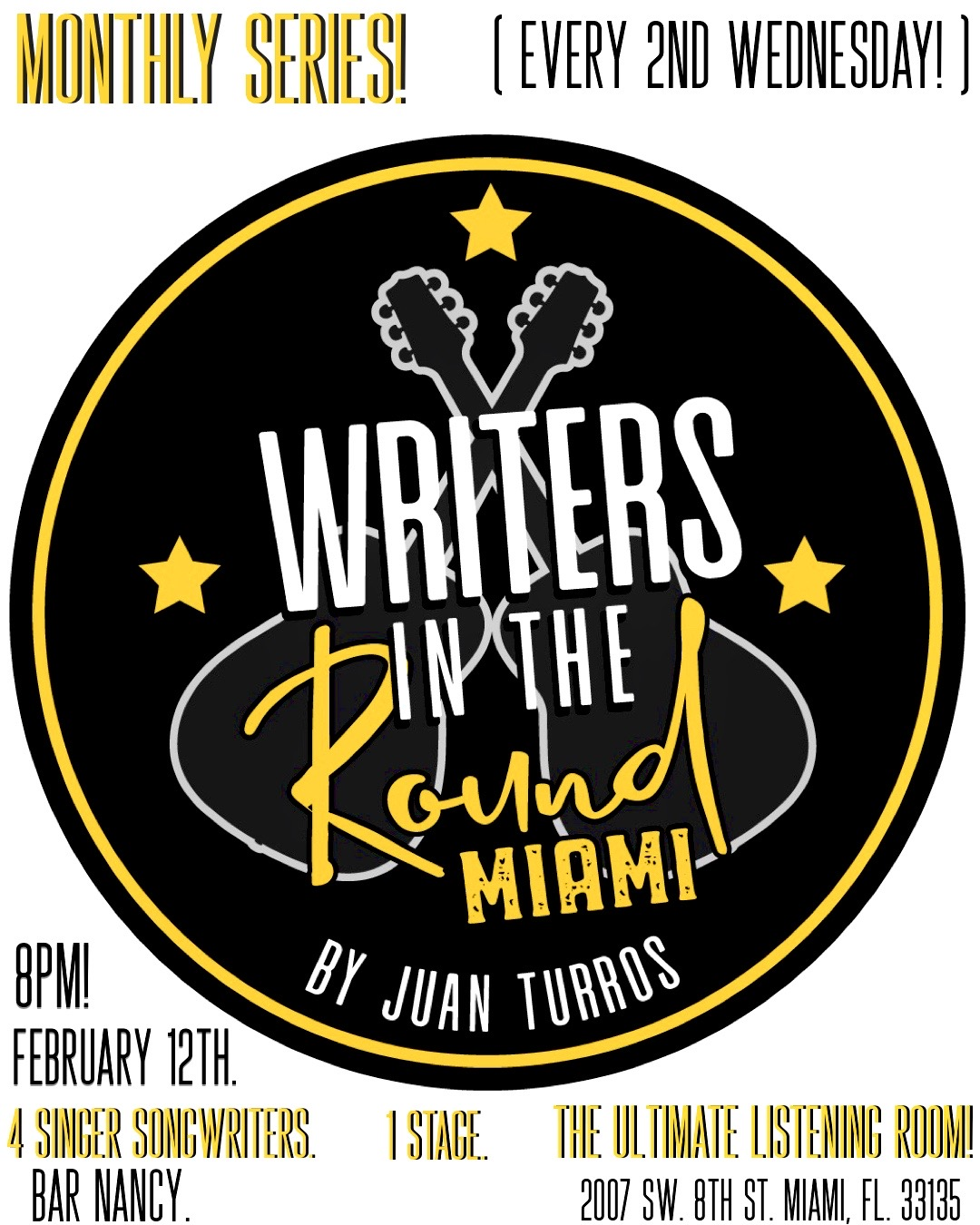 Writers in the Round! Hosted by Juan Turros! @ Bar Nancy